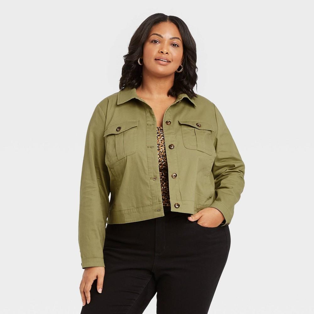 Women 39 S Plus Size Utility Blazer Jacket Ava 38 Viv 8482 Olive Green X