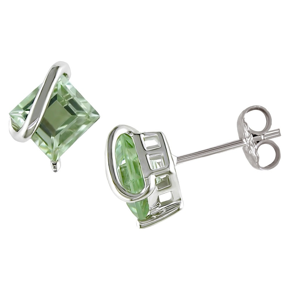 2 24 Ct T W Square Shaped Green Amethyst Pin Earrings In Sterling Silver Green
