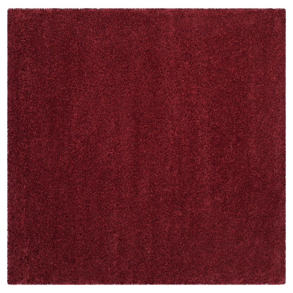 Maroon (Red) Solid Loomed Square Area Rug - (6'7