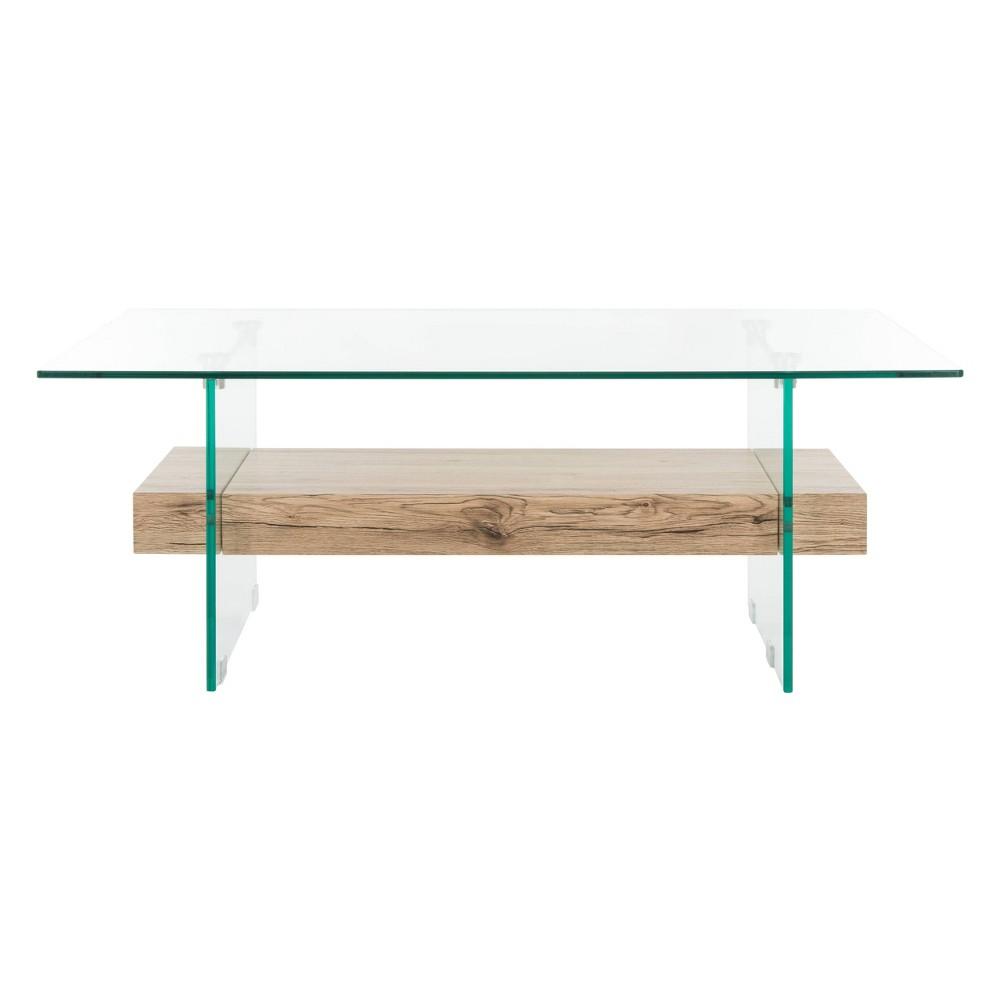 Kayley Glass Coffee Table Natural - Safavieh