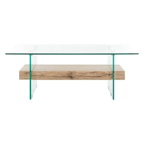 Kayley Glass Coffee Table Natural Safavieh Target