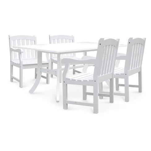 Vifah Bradley Rectangular and Curved Leg Table & Arm Chair Outdoor Wood 5pc Dining Set - White - image 1 of 4