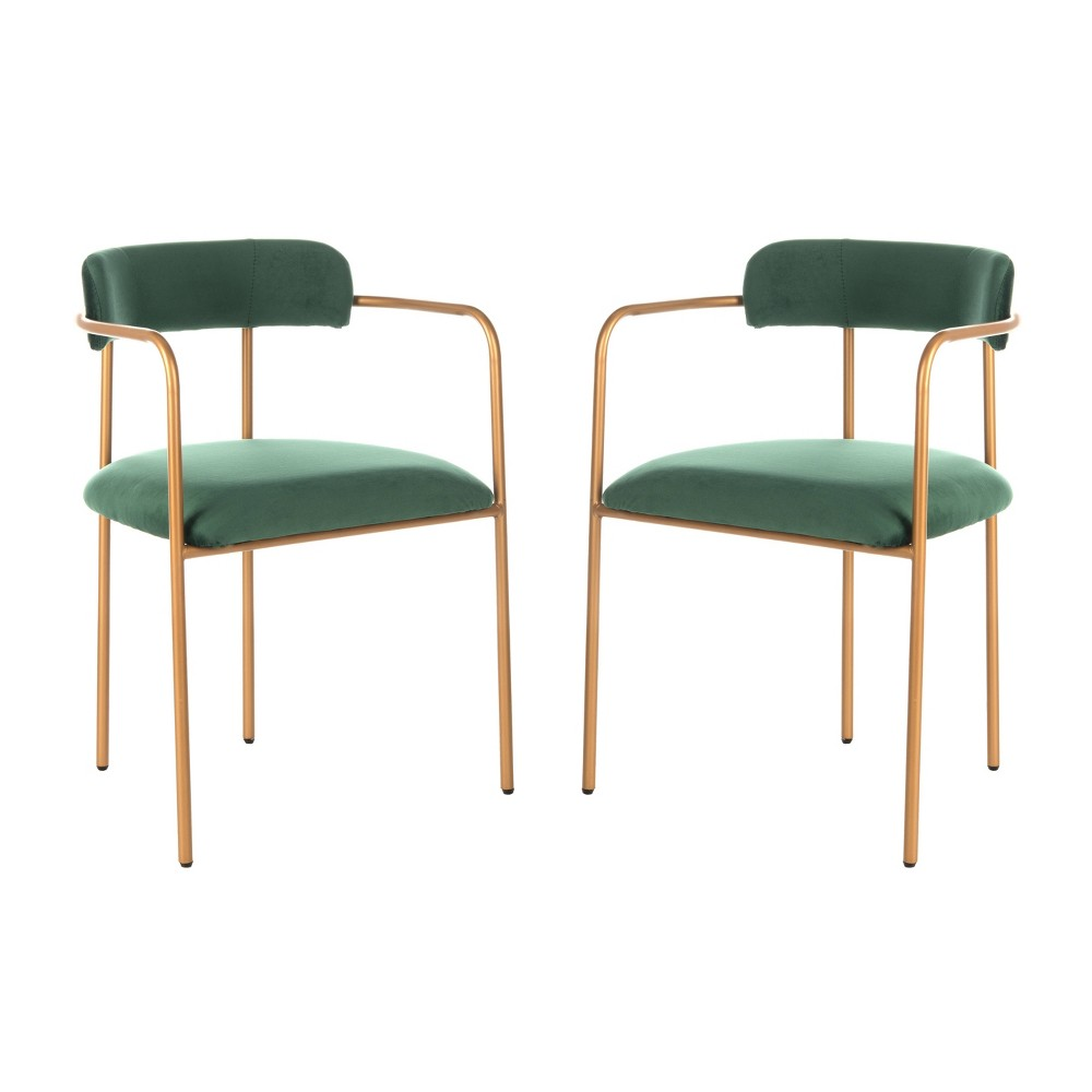 Set of 2 Camille Side Chair Malachite Green/Gold - Safavieh