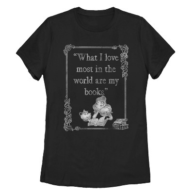 Women's Beauty and the Beast Belle Loves Books T-Shirt