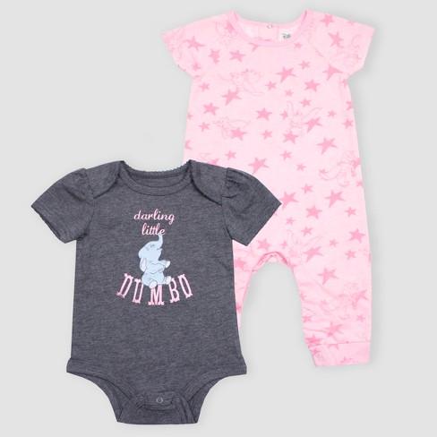 7a3c21ca2 Baby Girls  Disney Dumbo 2pk Short Sleeve Rompers - Pink Gray   Target