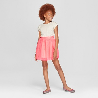 Girls' Short Sleeve Knit to Woven Dress with Tulle Skirt - Cat & Jack™ Pink/Cream XS