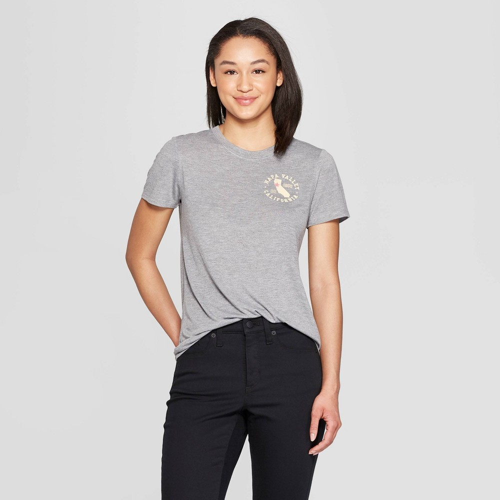 Women's Casual Fit Short Sleeve Crewneck Napa Valley Graphic T-Shirt - Modern Lux Gray M