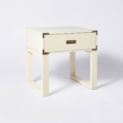 Blue Creek Campaign Side Table Nightstand Cream - Threshold™ designed with Studio McGee