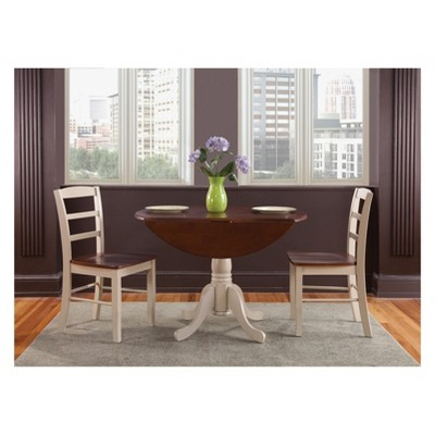 "Set of 3 42"" Dual Table with 2 Madrid Chairs Dining Sets Almond/Brown - International Concepts"