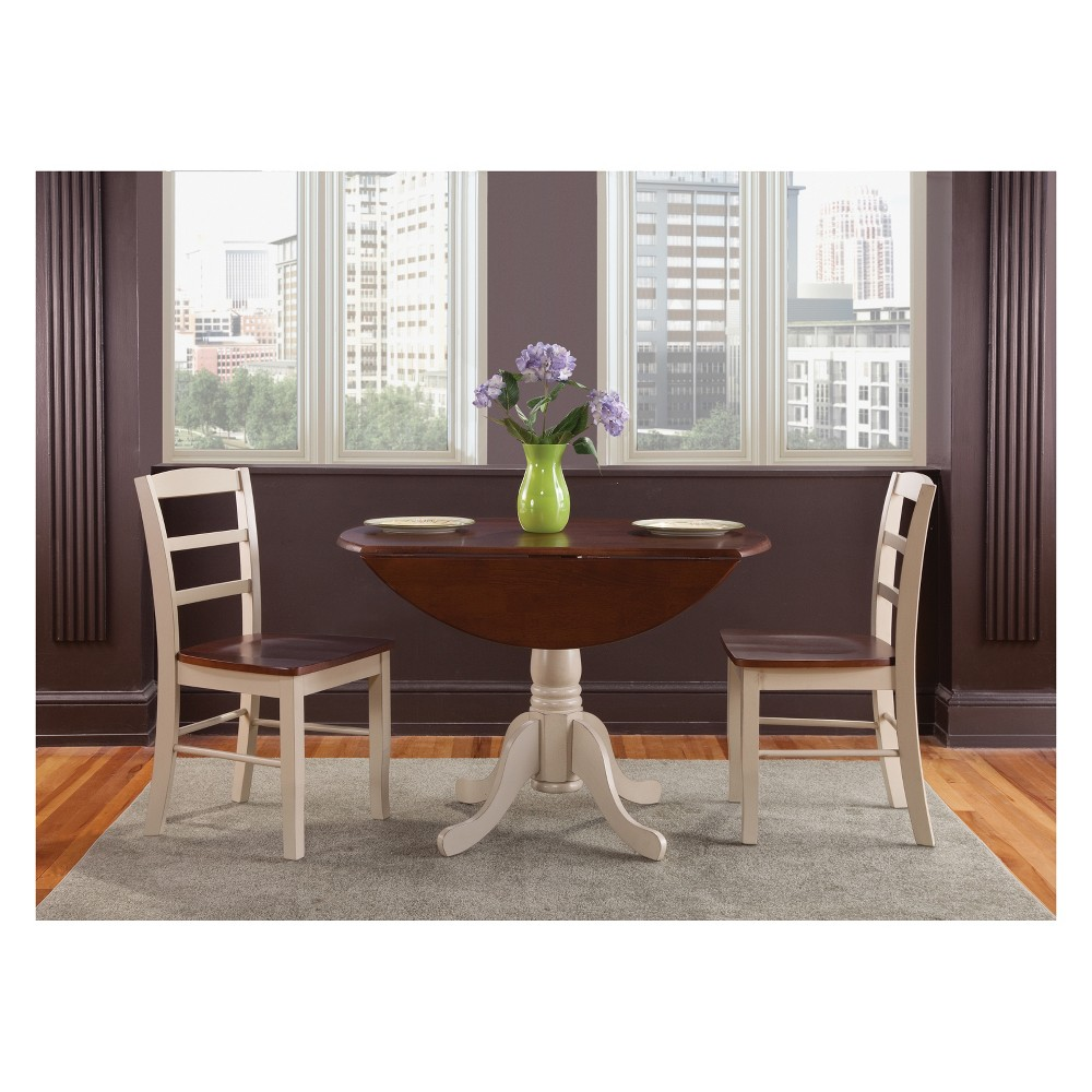Set Of 3 42 34 Dual Drop Leaf Table With 2 Madrid Chairs Dining Sets Almond Brown International Concepts
