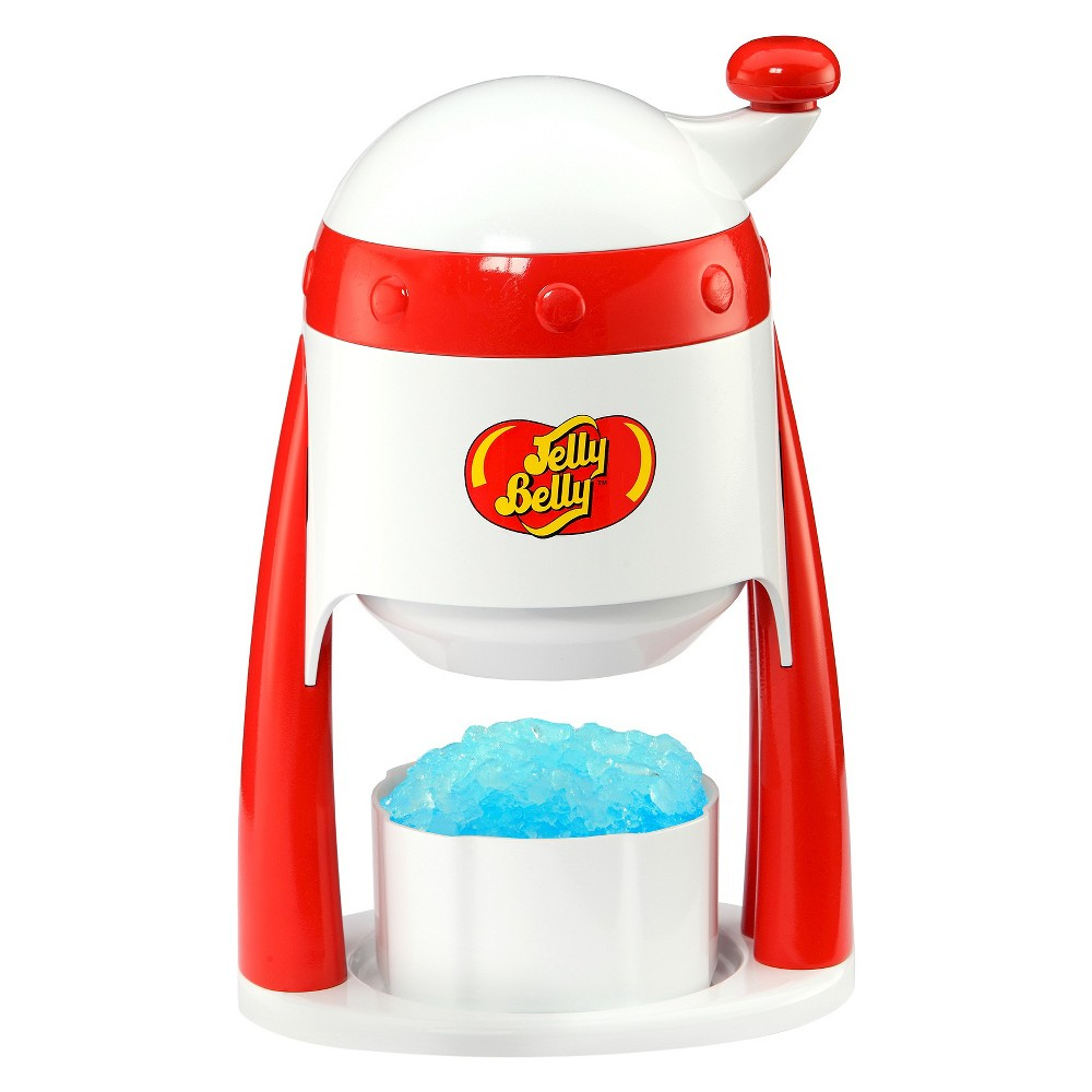 Jelly Belly Portable Ice Shaver, White Enjoy that great Jelly Belly flavor while cooling down with freshly shaved ice, anytime, anywhere. The Jelly Belly Portable Ice Shaver is the simple way to create shaved ice. All you need to do is hand crank the turn top and your work is done! Shave pre-formed blocks of ice into fluffy shaved ice, perfect for snow cones, slushies, and party drinks. Includes 2 ice molds which can also be used as bowls Top crank mechanism is easy to operate. Color: White.