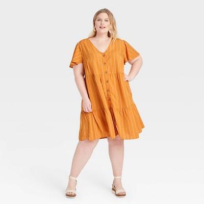Women's Plus Size Short Sleeve Button-Front Tiered Dress - Ava & Viv™