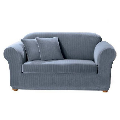 Stretch Pinstripe Sofa Slipcover - Sure Fit - image 1 of 3