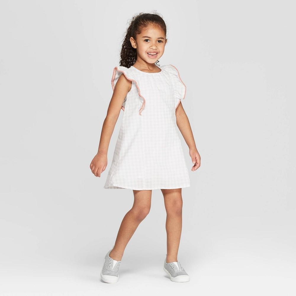 Mila & Emma Toddler Girls' Gingham Ruffle Shift Dress - White 12M