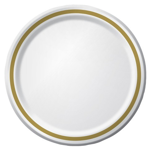 9 white with gold foil paper plates 10ct spritz target