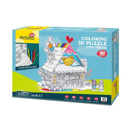 Toy House 18pc 3D Coloring Puzzle - image 1 of 3