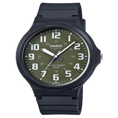 Casio Men's Super Easy Reader Watch, Green/White Dial - MW240-3BV