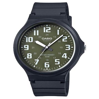 Casio Men's Super Easy Reader Watch, Green/White Dial - MW240-3BV