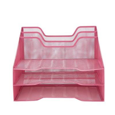 Mind Reader 5 Tray Mesh File/Letter/Document Desktop Organizer Pink