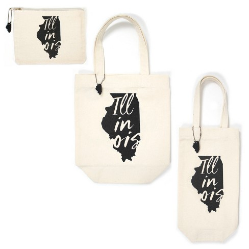 3pk Illinois Totes Includes Zipper Pouch Tote Bag And Wine Cream Bullseye S Playground