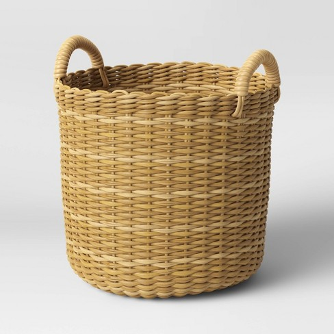 Manmade Wicker Woven Basket Planter Beige - Threshold™ - image 1 of 2