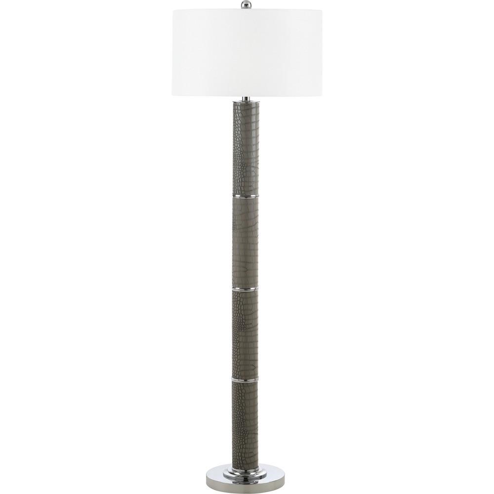 Marcello 60.5Inch H Faux Alligator Floor Lamp Gray - Safavieh