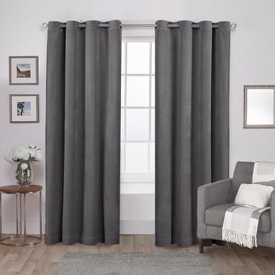 """Set of 2 96""""x54"""" Velvet Heavyweight Grommet Top Window Curtain Panel Gray - Exclusive Home"""