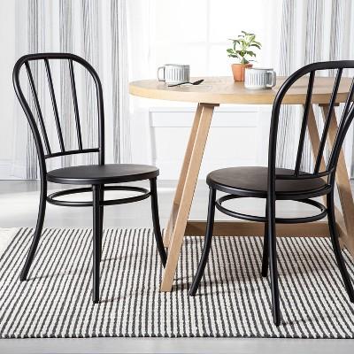 2pk Indoor/Outdoor Steel Bistro Dining Chair Set Black - Hearth & Hand™ with Magnolia