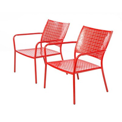 2pc Wrought Iron Martini Low Profile Garden Patio Lounge Chairs - Alfresco Home