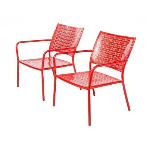 2pc Wrought Iron Martini Low Profile Garden Patio Lounge Chairs - Alfresco Home - image 1 of 4