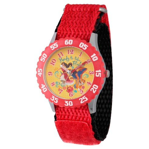 Girls' Disney Elena of Avalor and Skylar Stainless Steel Time Teacher Watch - Red - image 1 of 1