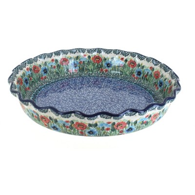 Blue Rose Polish Pottery Watercolor Garden Pie Plate