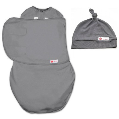 embé Starter Swaddle Original and Top Knot Hat Bundle - Slate Gray
