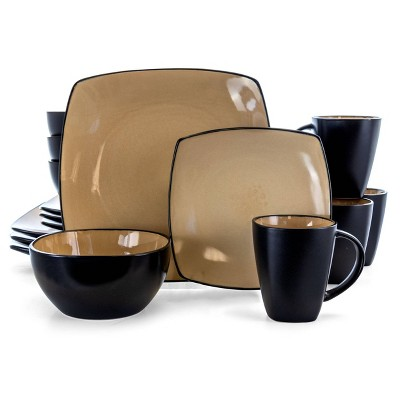 Gibson Home 16pc Stoneware Soho Lounge Dinnerware Set Taupe