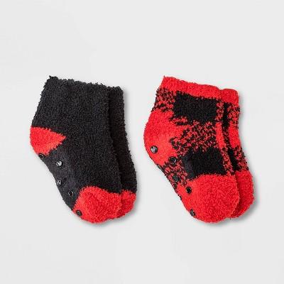Toddler 2pk Cozy Buffalo Check Ankle Socks - Cat & Jack™ Red 6-7