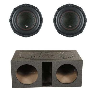 Audiopipe TXX-BD3-12 12 Inch 1800W Car Audio 4 Ohm Subwoofer (2 Pack) & QPower QBOMB12VL 12 Inch Dual Vented Ported Car Subwoofer Sub Box Enclosure