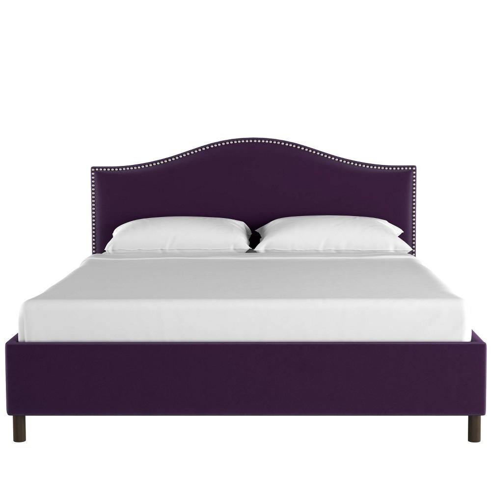 Twin Nail Button Platform Bed in Velvet Aubergine Purple - Skyline Furniture