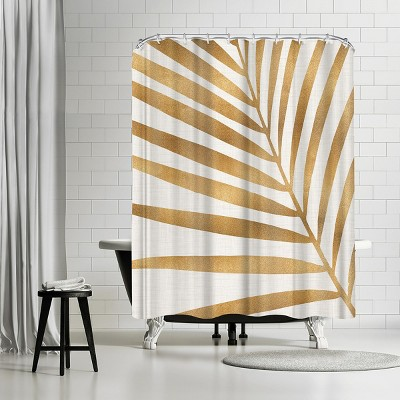 "Americanflat Gold Palm Leaf by Modern Tropical 71"" x 74"" Shower Curtain"