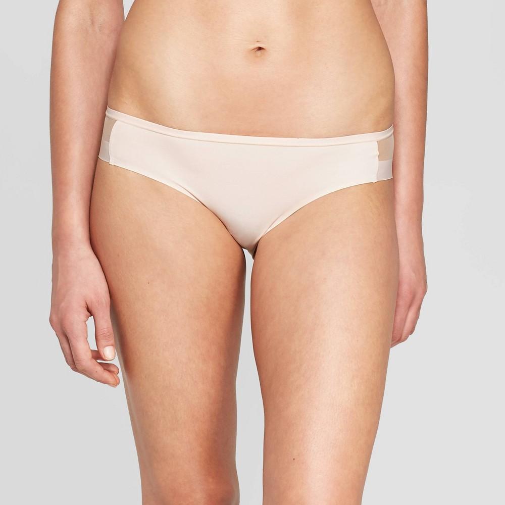 Women's Bonded Micro Bikini with Mesh - Auden Soft Petal Pink L, Soft Pink