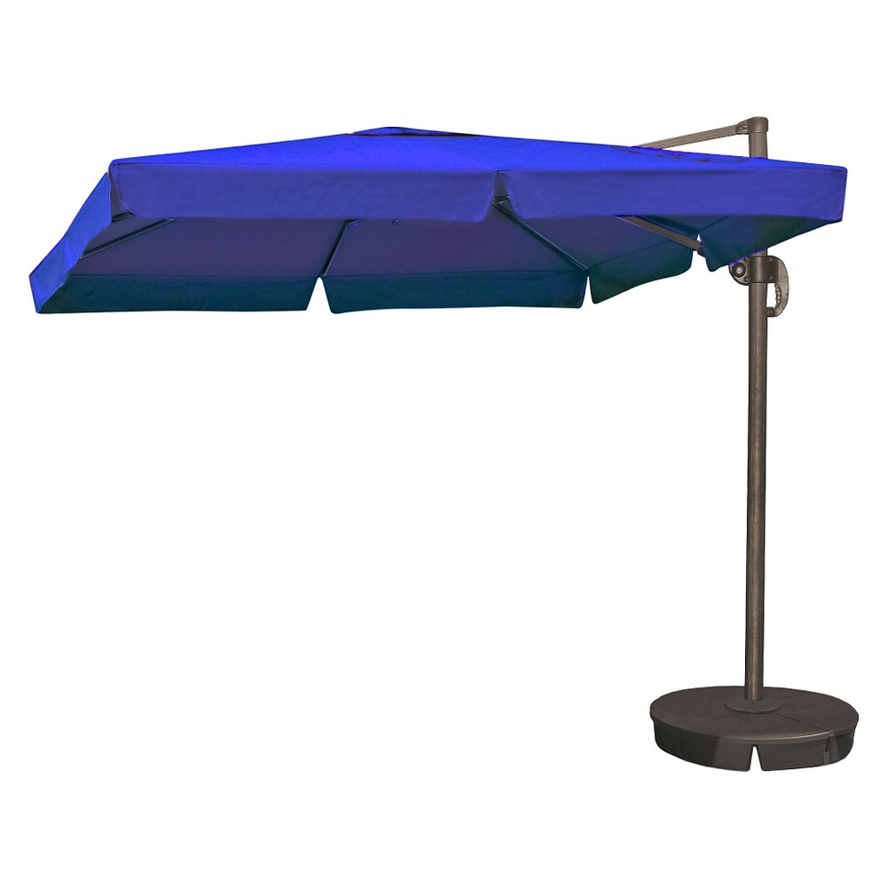 Image of Island Umbrella Santorini II 10' Square Cantilever Umbrella With Valance in Blue Sunbrella