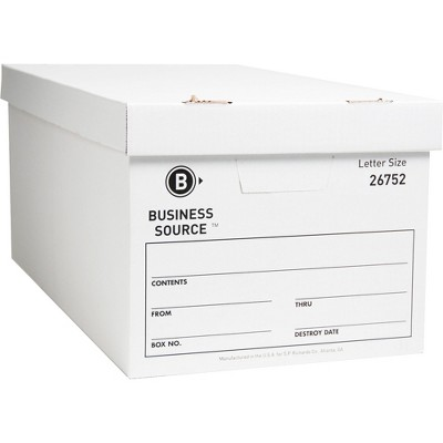 "Business Source Storage Boxes Ltr 500 lb 12""x24""x10"" 12/CT White 26752"