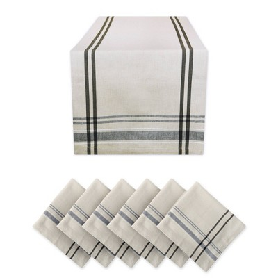 French Stripe Table Set Black - Design Imports