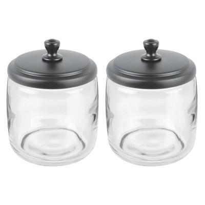 mDesign Glass Vanity Storage Organizer Apothecary Jar, 2 Pack