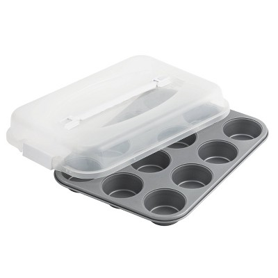 OvenStuff 12 Cup Non Stick Muffin Pan with Lid