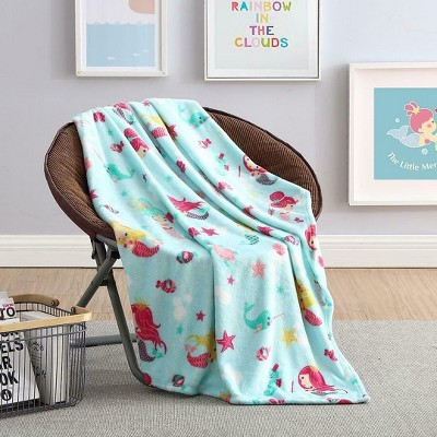 Kate Aurora Ultra Soft & Plush Mermaids & Fish Princess Hypoallergenic Fleece Throw Blanket -