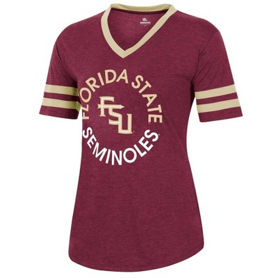 NCAA Florida State Seminoles Women's Short Sleeve V-Neck Heathered T-Shirt