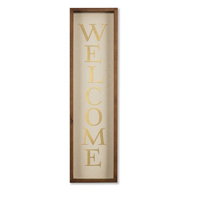 Welcome Vertical Decorative Wall Sculpture Tan - Threshold™