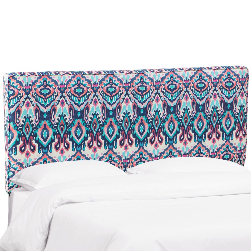 King Harper Box Seam Headboard Navy/Pink Print (Blue/Pink Print) - Cloth & Co.
