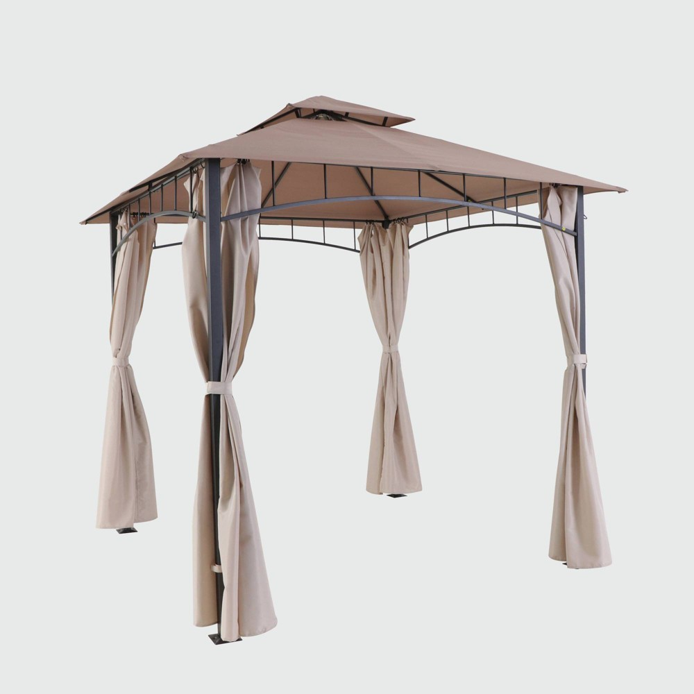 10'x10' Steel Gazebo with Curtains - Beige - Threshold was $700.0 now $350.0 (50.0% off)