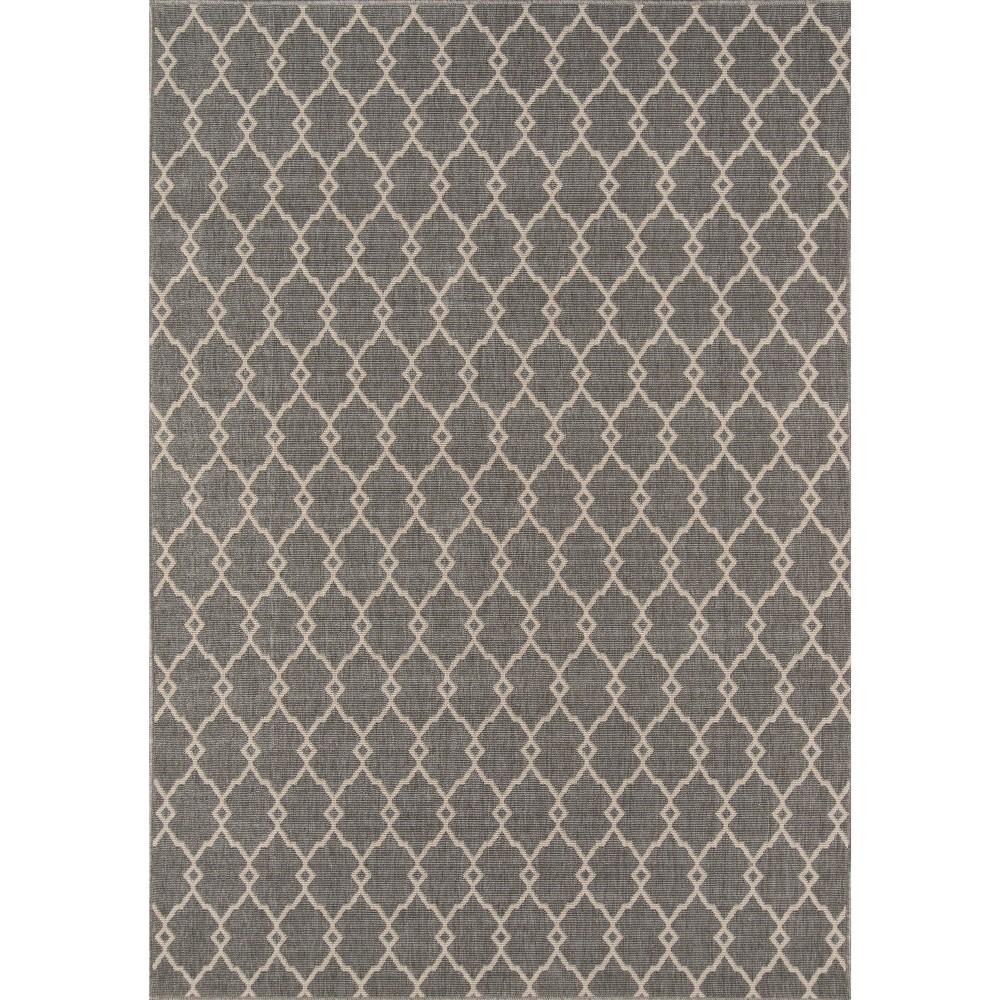 Best Price IndoorOutdoor Fretwork Area Rug Gray 4x56